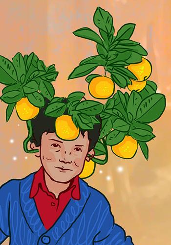 Juanito bajo el naranjo